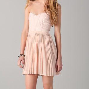 Brand New Parker Blush Pleated Strapless Dress L